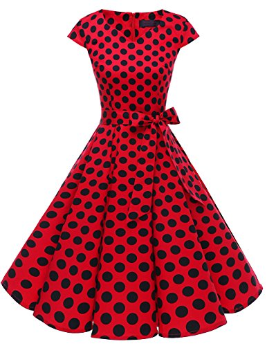 Dresstells Vintage 50er Swing Party kleider Cap Sleeves Rockabilly Retro Hepburn Cocktailkleider Red Black Dot L
