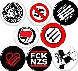 Anti Fascist 8 NEW 1 Inch (25mm) Set of 8 Pinback Buttons Badges Pins ANTIFA