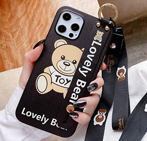 HEAVENBIRD Moschino Toy Lovely Bear 【 iPhone 11 Case 】 Cartoon Cute Beautiful Lanyard Wristband Holder case 6.1 inch 2019 (Moschino Toy Lovely Bear)