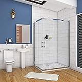 AICA cabine de douche 100x80cm accaccès d'angle cabine de douche rectangle porte de douche coulissante hauteur:195cm