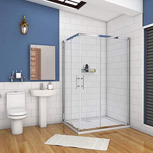 AICA cabine de douche 100x90cm accaccès d'angle cabine de douche rectangle porte de douche coulissante hauteur:195cm