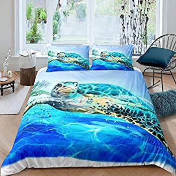 Sea Turtle Comforter Cover Teal Ocean Duvet Cover Set Underwater World Reptile Animals Bedding Set Tropical Island Hawaiian Beach Bedspreads Cover For Kids Adults Bedroom Decor 3 Piece Queen Size