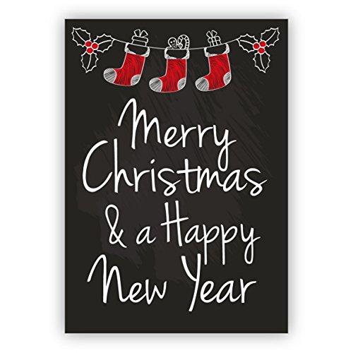 1 mooie, Engels, retro kerstkaart in tafel look met Kerstman sokken: Merry Christmas & a happy new year! • Als mooie wenskaart voor Kerstmis, jaareinde voor vrienden.