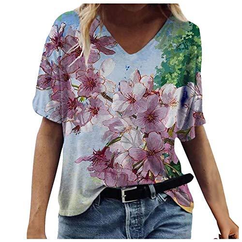 Camiseta de verano para mujer, manga corta, retro, estampado de flores, corte en V, holgada, informal, blusa, rojo, S