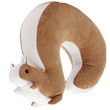 Lacheln Cartoon U Shape Travel Pillow Car Neck Support Rest Cushion for Airplane Bus Train Home Office Soft Plush,Brown Squirrel