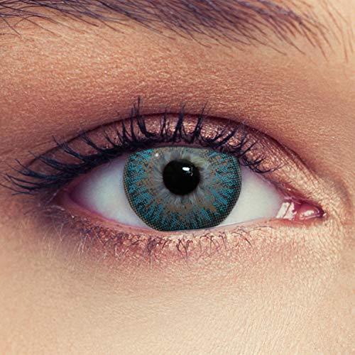 Designlenses, Dos lentillas de color azul agua discretamente colores suaves de un mese sin dioprtías/corregir + gratis caso de lente