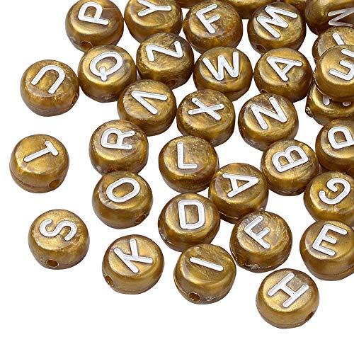 PandaHall Alphabet Lettres Mixtes 200pcs Perles acryliques Perles de Poney Plat Rond pour Bracelet Séparateurs Perles Charme Fabrication de Bijoux 7x4mm, Trou: 1 mm
