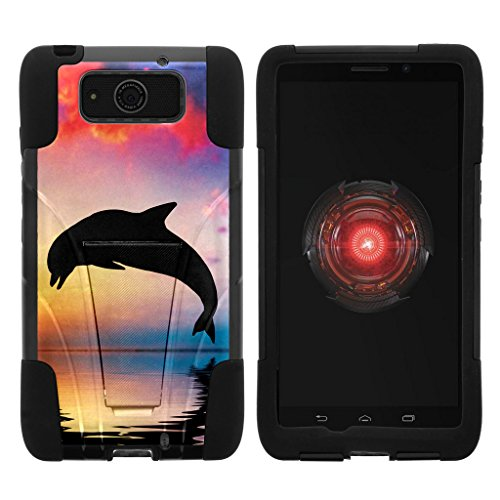 Compatible with Motorola Droid Maxx Case | Droid Ultra Case | XT1080 [Gel Max] Hybrid Dual Layer Case Silicone Hard Shell Kickstand Cover Ocean Sea by TurtleArmor - Dolphin Jump