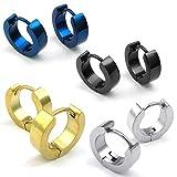KONOV bijoux boucles d'oreilles des hommes classiques étalon Bague 4 paires Acier Inoxydable Bleu Argent Noir Or  sac offert