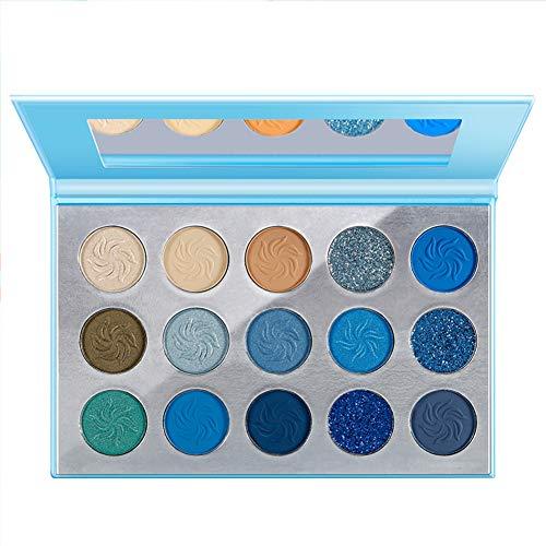 Oogschaduw Palet Blauw Mat Shimmer Make-up, hoog pigment Langdurig palet Oogschaduw, geperst Glitter Zilver Donkergrijs Naakt Rokerig,B