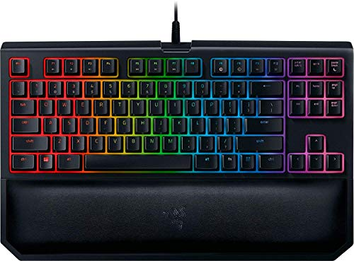 Razer BlackWidow TE Chroma v2 TKL Tenkeyless Mechanical Gaming Keyboard: Yellow Key Switches, Linear & Silent, Chroma RGB Lighting, Magnetic Wrist Rest, Programmable Macros, Classic Black (Personal Computers)