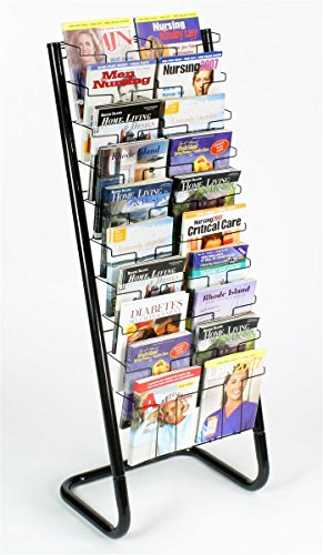 Displays2go 57-Inch Floor-Standing Wire Magazine Rack, 20 Pockets, Tiered Design - Black (WFM1020A)