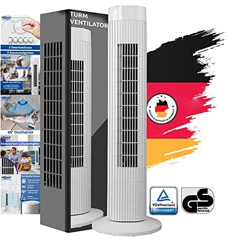 METE Ventilator Turmventilator leise 78cm weiss, ENERGIESPAREND A+, Verbrauch 0,045 kW/h, Turm-lüfter Lautstärke max. 57dbA, BESTSELLER 3 Stufen, 75° Oszillierend/Drehbar, Stablüfter
