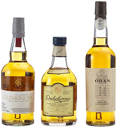 The Classic Malts Collection Pack Gentle, Single Malt Whisky Pack mit Dalwhinnie 15, Oban 14, Glenkinchie 12 (3 x 0.2 l)