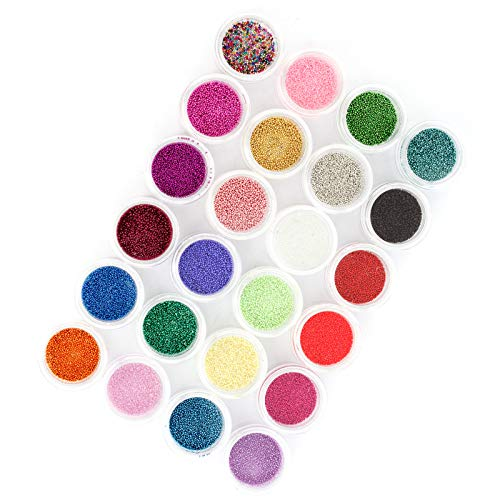 24 Farben Kaviar 3D Mini Perlen Nail Art Tip Mix UV Acryl Polish Craft DIY DIY