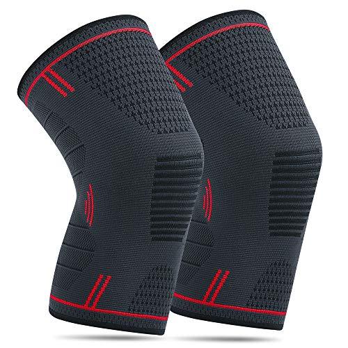 NA 2 Pack Kniebandage für Damen Männer Elastische Kompression Knieschoner für Laufen Walking Radfahren Basketball und Knie Sicherheit Schmerzlinderung (L, Rot)