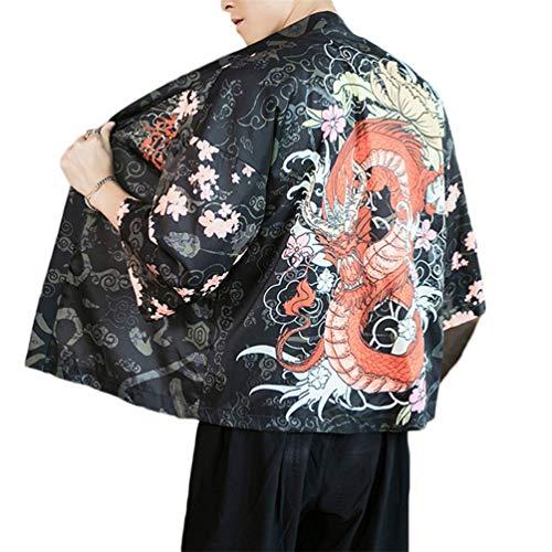 GUOCU Hombre Mujer Camisa Kimono Estilo Japonés Estampado Holgado Cloak Cardigan Casual Chaqueta Color2 XL