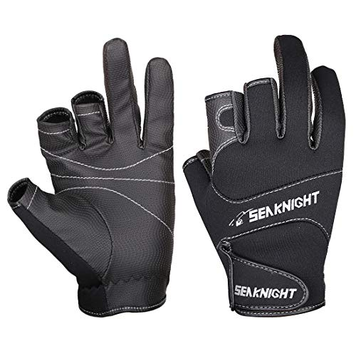 SeaKnight SK03 Neopren-Handschuhe, Outdoor, Sport, 3freie Finger, Angelhandschuhe, rutschfest, winddicht, zum Angeln, Jagen, Reiten, Fahrradfahren L schwarz