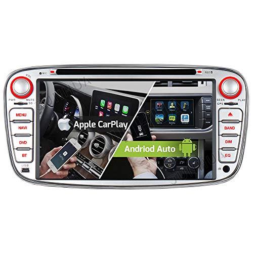 Android 10 Carplay Android Auto Dual-Tuner Radio 2GB+32GB Bluetooth 5.0 DSP DVD GPS Navigation für Ford Mondeo Focus mk2 C-Max Galaxy S-Max DAB+ WiFi 4G USB Video Out Autoradio Navi (Silber)