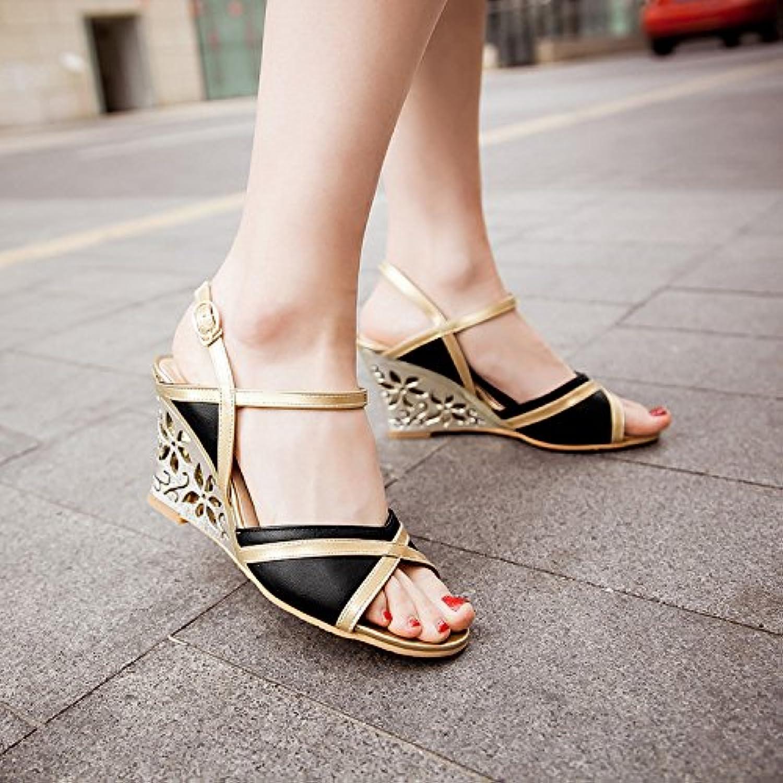 WHW Women's Flat Heel Comfort Outdoor Office Career Dres Sandals Flip Flops,Black,33