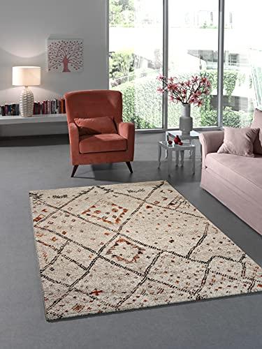 NAZAR Tapis de Salon Berbère à Poils Ras Design Géométrique de Couleur Beige (120x170cm)