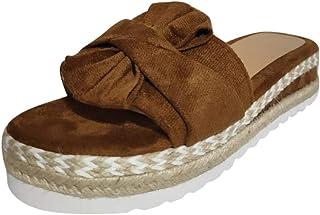 Sandalias Mujer Verano 2020 Transpirables Cáñamo Fondo Grueso Sandalias Punta Abierta Zapato de Playa Moda Fiesta Negro Ro...