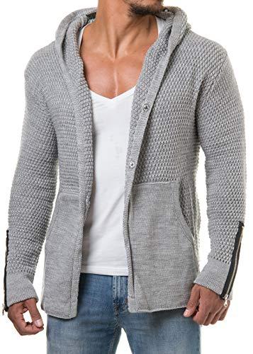 CARISMA Herren Strickjacke Cardigan Kapuzenpullover Zipper Patches 7221, Größe:XL, Farbe:Grau