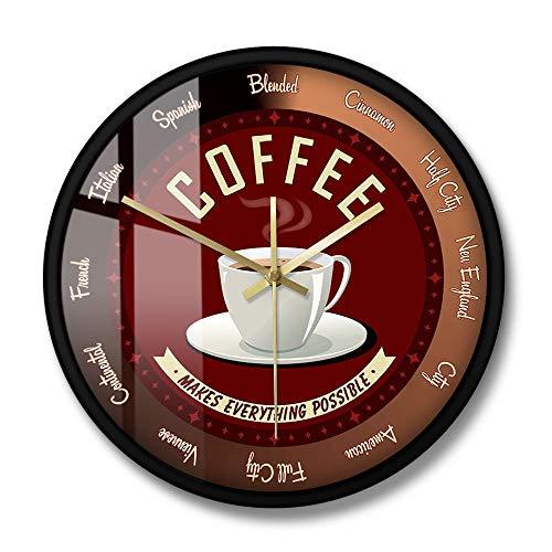 Fryymq (12 Zoll mit LED) mit Rahmen Acryldruck Kaffee Macht Alles möglich Kaffeebar Café Zeit Wanduhr Küche Wandkunst Dekoration Wanduhr Kaffeeliebhaber Geschenk