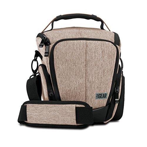 Capa para câmera digital USA Gear SLR com interior acolchoado macio, bolsos acessórios com zíper, alça de transporte ajustável para Nikon D3300 / D3400 / D5500, Canon Rebel T6 / T6i / T5 / T5i e mais, Marrom