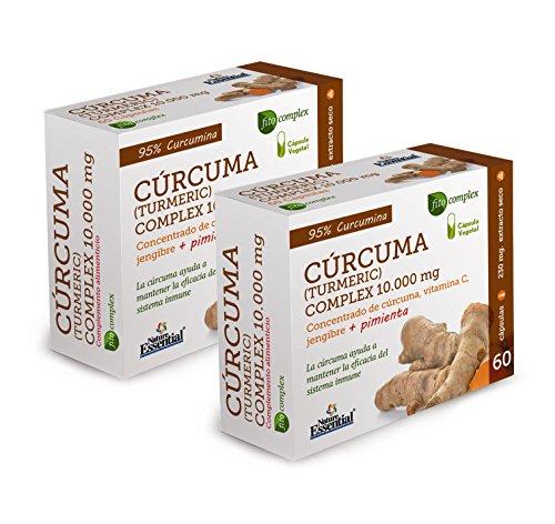 Cúrcuma complex 10.000 mg con extractos seco de cúrcuma, jengibre, pimienta negra y vitamina C 60 cápsulas vegetales (Pack 2 unid.)