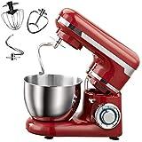 Küchenmaschine Knetmaschine,1200W Lebensmittelmixer, 6-Gang-Tilt-Head-Elektromixer Mit Großem Fassungsvermögen Von 4 L Edelstahl-Rührschüssel Für Teighaken, Schläger, Schneebesen