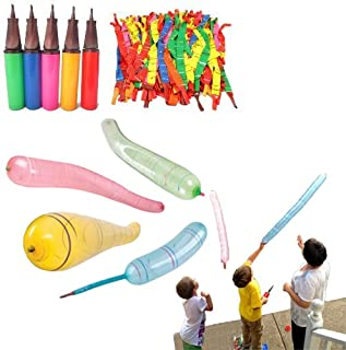 Dazzling Toys Rocket Balloons with Air Pump - Pack of 30 Flying Whistling Assorted Color Long Rocket Balloons Party Favor and Supply