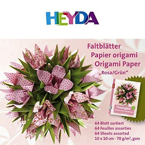 Faltblätter Fleurogami rosa/grün, Papierset