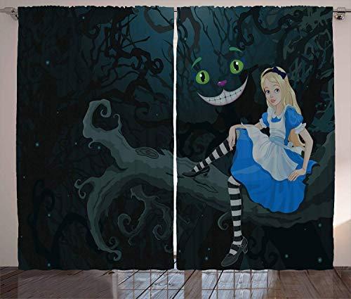 Cortinas Alicia en el País de las Maravillas, Alice Sitting on Branch and Chescire Cat in Darkness Cartoon Style, Sala Dormitorio Ventana Cortinas 2 paneles, 132 x 183 cm, verde oscuro