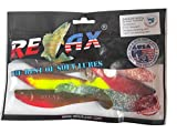 SANDAFishing Relax Kopyto River Set – 7 peces de goma en 11 cm 13 cm 4 pulgadas 5 pulgadas lucioperca en río, lucio, siluro, yeso, bacalao, mar,...