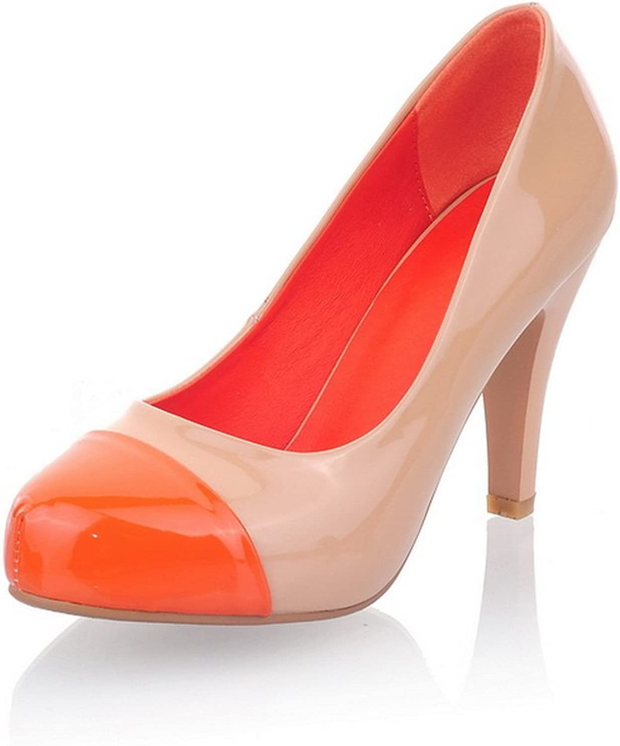WeenFashion Women's Round-Toe Patent PU Leather High Chunky Heels Pumps with colorant Match