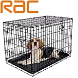 RAC Dog Puppy Cage Folding 2 Door Crate with Plastic Tray Medium 30-inch