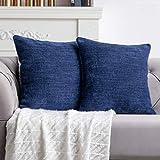 Anickal Indigo Blue Pillow Covers 18x18 Inch Set of 2 Farmhouse Indigo Blueic Decorative Throw Pillow Covers Square Cushion Case for Home Sofa Couch Decoration