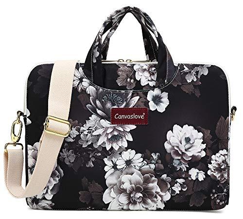 Canvaslove Flower Canvas Laptop Shoulder Messenger Bag Case Sleeve Briefcase (14 inch-15.6 inch, White Lotus)