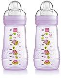 MAM Biberon pour bébé 270ml 2+ mois Lot de 2–Disponible en rose ou bleu (Rose/violet)...