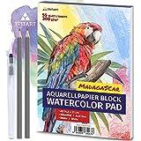 Tritart A5 Aquarell-Papier 300g   Weiß   55 Blatt   Aquarellblock Din A5 inkl. Water Brush und 2 Bleistifte