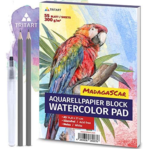 Tritart A5 Aquarell-Papier 300g | Weiß | 55 Blatt | Aquarellblock Din A5 inkl. Water Brush und 2 Bleistifte