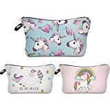 Cosmetic Bag for Women,Deanfun Mandala Flowers Waterproof Makeup Bags Roomy Toiletry Pouch Travel Accessories Gifts (3 pcs Unicorn)