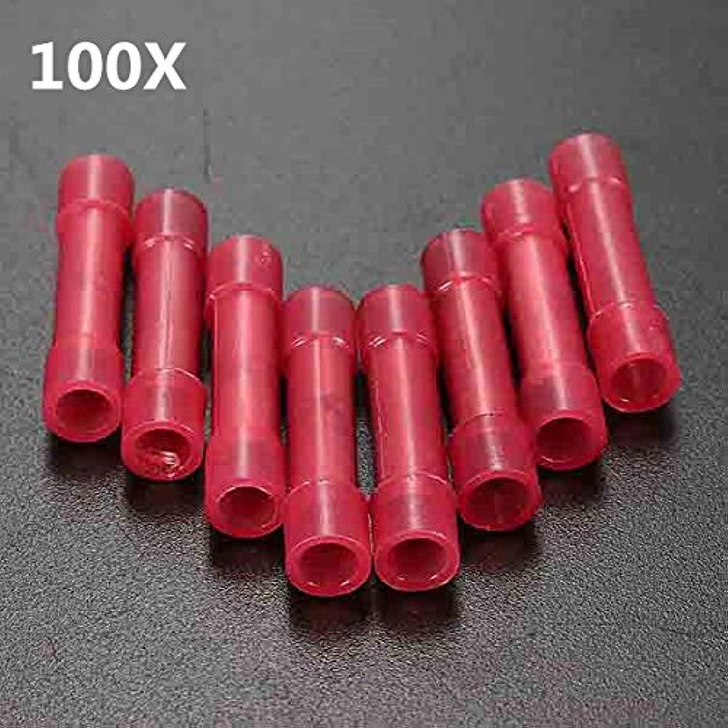 派手粘性のインゲンQueenwind 100pcs 赤電線圧着バットコネクタ絶縁端子 0.4-1mm 2 22-18AWG
