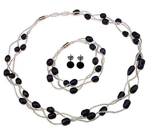 TreasureBay Elegant Natural Freshwater Pearl Necklace Bracelet and Earrings Pearl Jewellery Set