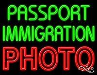 24x 31x 3インチパスポートImmigrationフォトネオン広告ウィンドウサイン
