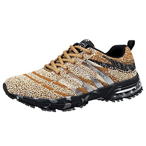 Wealsex Laufschuhe Turnschuhe Straßenlaufschuhe Sneaker Mit Damen Herren Sportschuhe Laufen auf Asphalt (42 EU, Beige)