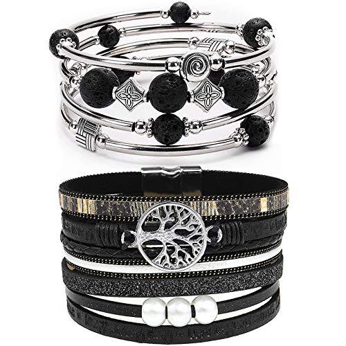 YooAi 2 Stück Wickelarmband Mehrschichtiges Lederarmband Böhmische Perle Baum des Lebens Armbänder Schmuck Für Frauen Schwarz
