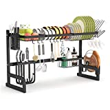 Product Image of the Over The Sink Dish Drying Rack - 1Easylife Adjustable 2-Tier Large Dish Dryer Rack for Kitchen Organizer Storage Space Saver Shelf Utensils Holder with 7 Utility Hook Tableware Drainer (Black)