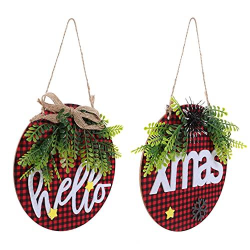 BESPORTBLE Di Natale Segno di Benvenuto Porta di Legno Cartello Appeso Bordo di Benvenuto Placca Tag Decorativi Segni di Legno per Casa Natale Porta Decorazioni 2Pcs